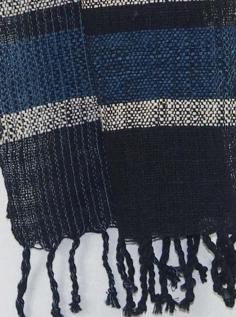 Echarpe en coton filée et tissée à la main par les artisanes des villages du Laos - artisanat authentique et équitable - code 201201-f2