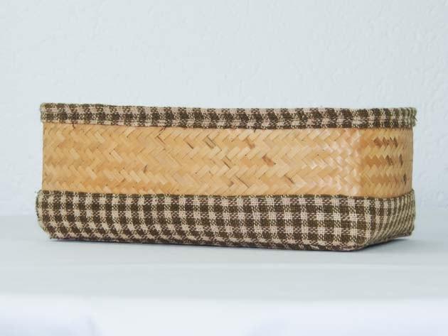 Panier en bambou et coton tressé à la main par les artisans des villages du Laos - commerce équitable - code 2011781