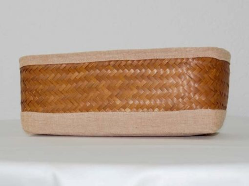 Panier en bambou et coton tressé à la main par les artisans des villages du Laos - commerce équitable - code 2011782