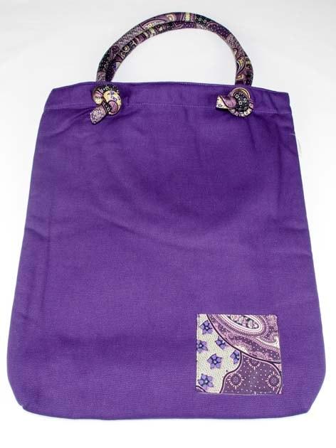 Sac en coton batik violet cousu à la main par les artisanes des villages de la Thaïlande - artisanat équitable - code 102108V-f2