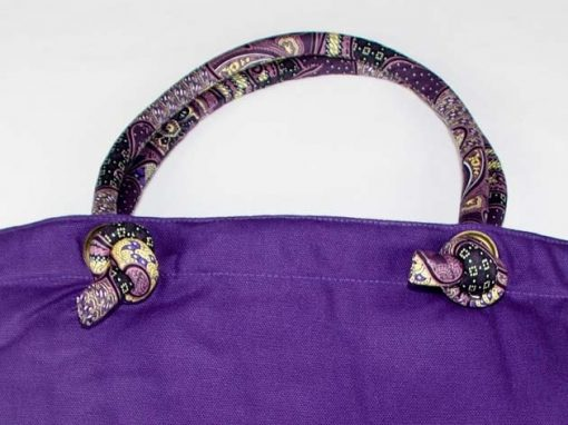 Sac en coton batik violet cousu à la main par les artisanes des villages de la Thaïlande - artisanat équitable - code 102108V-f3