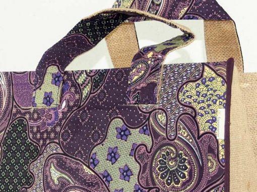 Sac panier en coton batik et jute cousu à la main par les artisanes des villages de la Thaïlande - artisanat équitable - code 102132V-f3