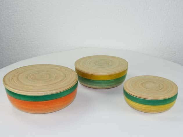 Boîtes en bambou artisanat des villages du Vietnam - commerce équitable - code 40161456-f2
