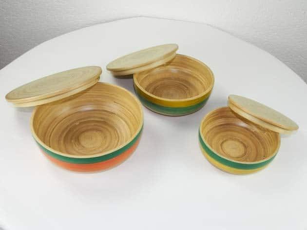 Boîtes en bambou artisanat des villages du Vietnam - commerce équitable - code 40161456-f4