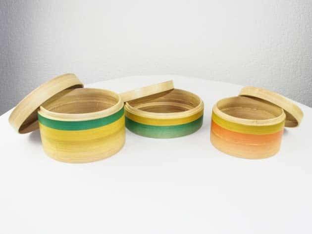 Boîtes en bambou artisanat des villages du Vietnam - commerce équitable - code 40161123-f3
