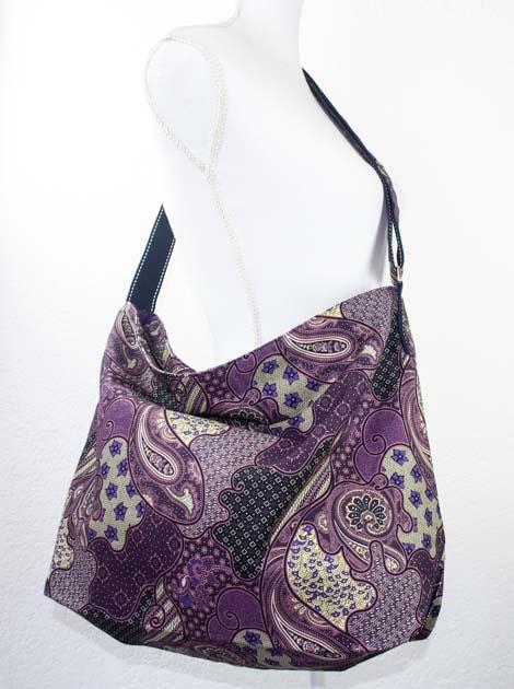 Sac en coton batik violet cousu à la main par les artisanes des villages de la Thaïlande - commerce équitable - code 102107V