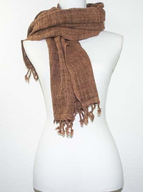 Echarpe en coton teinture naturelle filé et tissé à la main - artisanat cadeau équitable du Laos - code 2011721