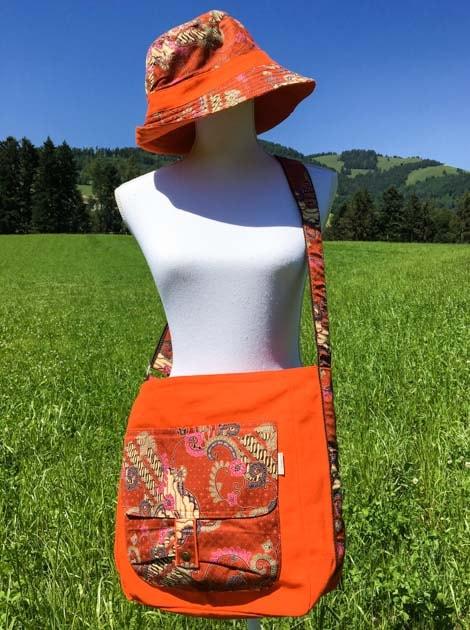 Sac bandoulière ou épaule en coton batik orange cousu à la main par les artisanes des villages de la Thaïlande - cadeau équitable - code 102136O