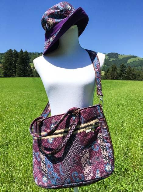 Sac business en coton batik violet cousu à la main par les artisanes des villages de la Thaïlande - cadeau équitable - code 102142VI