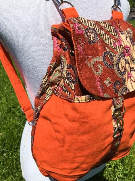 Sac à dos réversible en coton batik orange cousu à la main par les artisanes des villages de la Thaïlande - cadeau équitable - code 102138O-f2