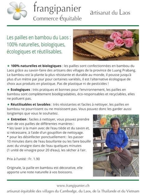 Paille en bambou naturelle et écologique - artisanat cadeau équitable du Laos - code 201192b