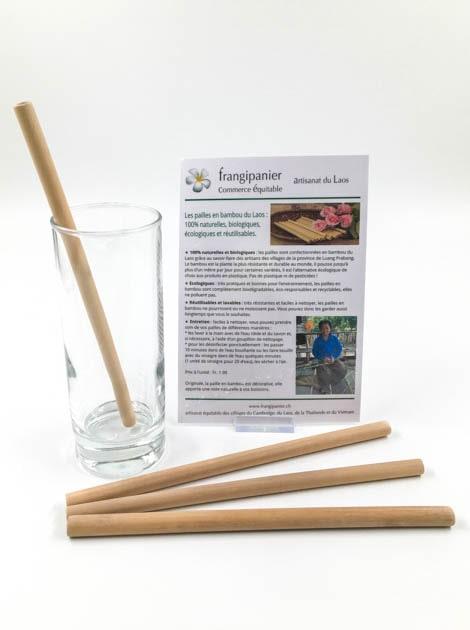 Paille en bambou naturelle et écologique - artisanat cadeau équitable du Laos - code 201192c