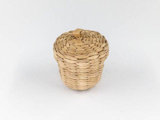 Boîte roude avec couvercle en jacinthe d'eau tressée artisanat des villages du Cambodge - commerce équitable - code 306101