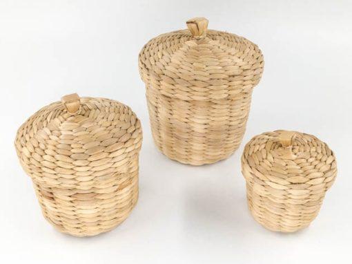 Set de trois boîtes en jacinthe d'eau tressée artisanat des villages du Cambodge - commerce équitable - code 30610123